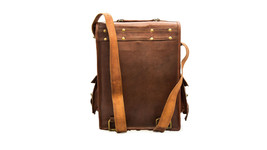 100% Pure Leather Two in One Laptop / Ipad Shoulder Tan Brown Leather Ba... - $57.89