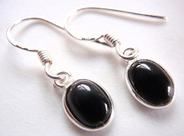 Black Onyx Regular Ovals 925 Sterling Silver Dangle Earrings New Oval El... - $11.87