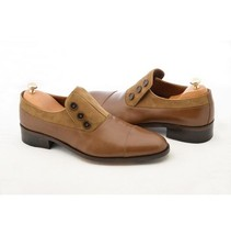 Handmade Men's Brown Leather and Suede Buttons Shoes image 4