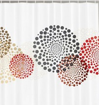 Brown Black Red Dotted Fabric Shower Curtain Circles Geometric Polka Dot... - $29.39