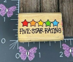 Hero Arts Five Star Rating Rubber Stamp 1995 Wood #Z37 - $3.96