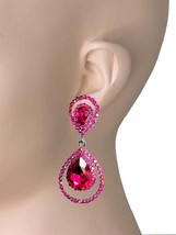 "2.25"" Teardrop Hoop Clip On Earrings Fuchsia Pink Rhinestones Pageant Bridal - $14.96"