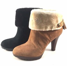 Anne Klein Teamy Black Suede Leather Round Toe Ankle Booties - $41.40