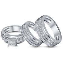 New 14k White Platinum Finish Wedding  Trio Ring Set W/ White CZ & Free Shipping - $166.99