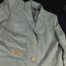 Giorgio Armani Classico Green Window Pane Plaid Blazer Linen Italy Sz 12... - $74.99