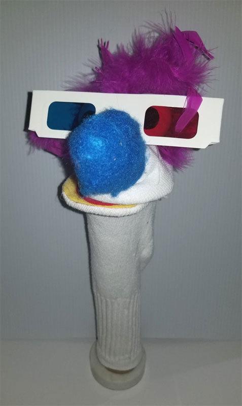 """D8 * Basic Custom """"3D Glasses w/Purple Hair""""  Sock Puppet * Custom Made"""