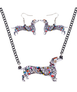 (GREY)Bonsny Brand Jewelry Sets Acrylic Statement Dachshund Dog Necklace... - $31.73 CAD