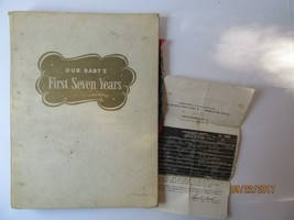 Our Baby's First Seven Years Record Book Vintage 1958 Cream Preowned Wor... - $21.49