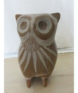 """Vintage 60s Large Ceramic Etched Owl 9"""" Tall Detail Figurine Statue Home... - $59.35"""