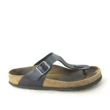 7 /38 - Birkenstock Womens Black Leather Classic T-Strap Gizeh Sandals 0... - $48.00