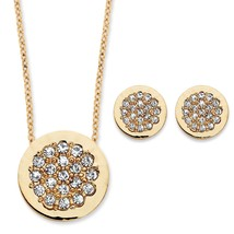 PalmBeach Jewelry .86 TCW CZ Slide Pendant and Button Earrings Set in Gold Tone - $23.99