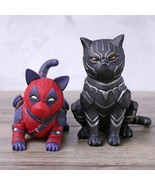 New Avengers Cosplay Deadpool Black Panther Cat PVC Figure Collectible M... - $15.29
