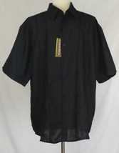 Cubavera Mens XL Shirt Button Down Camp Black Embroidered Bowling    - $34.64