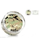 "PAIR-Camouflage Green Pixel Acrylic Double Flare Ear Plugs 22mm/7/8"" Gau... - $7.99"
