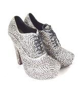 K-AA29553 New Azzedine Alaia Black White Pony Leather Heels Pumps Size S... - $445.21