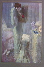 ITALIAN LADY Morning Toilette Mirror Stretching - COLOR Antique Print - $12.15