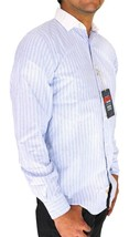 NEW DOCKERS MEN'S LONG SLEEVE BUTTON UP SHIRT LIGHT BLUE STRIPES SIZE SMALL image 2