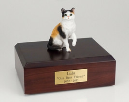 Calico Shorthair Cat Figurine Pet Cremation Urn Available 3 Diff Colors ... - $169.99+