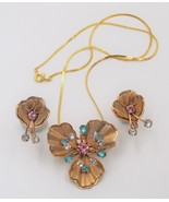 Vintage 1940s Rhinestone Flower Floral Brooch Necklace Pendant Earrings ... - $29.69