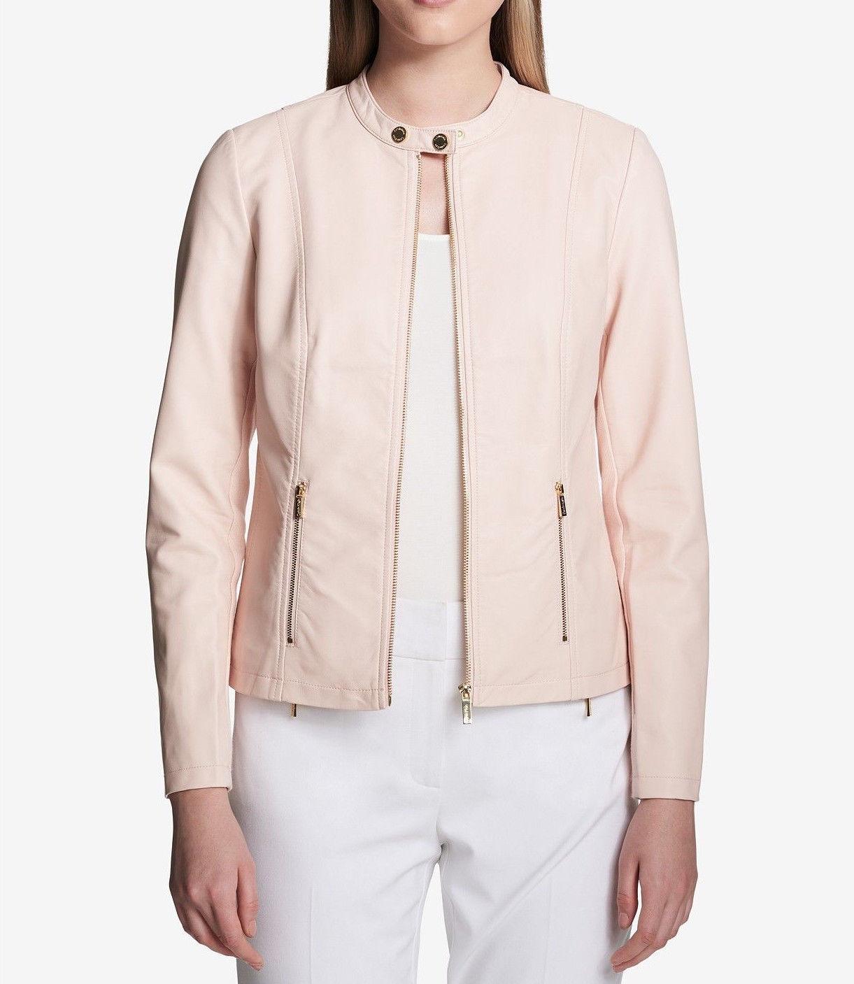 $129.5  Calvin Klein Faux-Leather Moto Jacket Blush XL