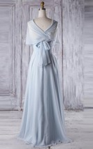 Convertible Floor Length Blue Chiffon Zipper Bridesmaid Formal Gown Dres... - $95.00