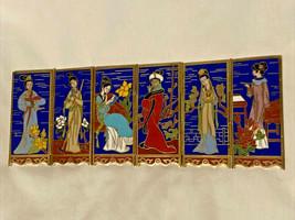 Cloisonne Folding Screen Panel Enamel Women Signed - $19.79