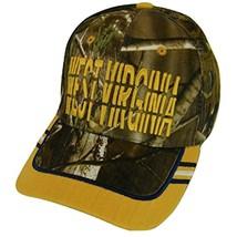 West Virginia Window Shade Font Men's Adjustable Baseball Cap (Camo/Gold) - €11,95 EUR