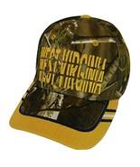 West Virginia Window Shade Font Men's Adjustable Baseball Cap (Camo/Gold) - $12.95