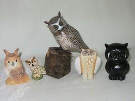 Mixed Lot 5 Vtg Owl Figurines Carved Wood Tree Stump Ceramic Black Resin... - $49.49