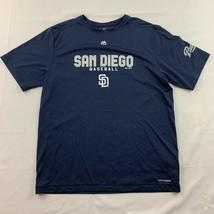 San Diego Padres Majestic Mens Graphic Tee Blue Baseball Crew Neck MLB T... - $19.75