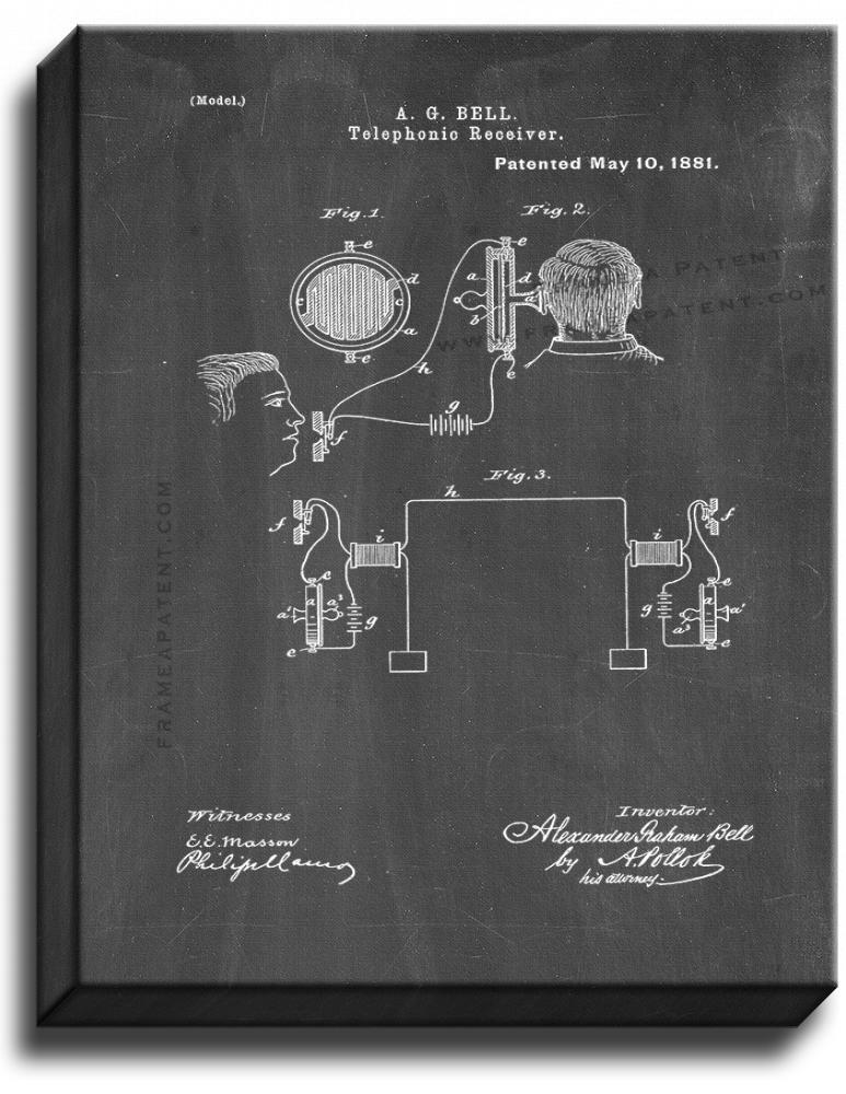 Primary image for Telephonic Receiver Patent Print Chalkboard on Canvas