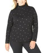 Karen Scott Women's Black/Gold Metallic Leaf-Print Mock Turtleneck Plus ... - $2.71