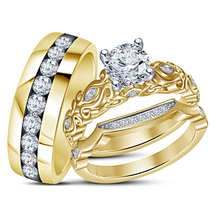 His Her Wedding Diamond Ring Trio Set 14k Yellow Gold Finish 925 Sterling Silver - $152.99