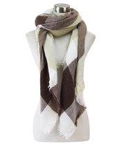 Le Nom Large Striped & Checker Pattern Blanket Scarf (Brown) - $12.86