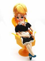 Vintage 1960s Bradley Big Eyed Doll French Chamber Maid Music Box Chair ... - $55.74