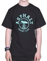 Asphalt Yacht Club Hombre Negro Menta París Yate Vida Camiseta AYC1520894 Nwt