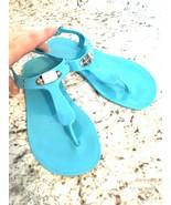 MICHAEL KORS MK Turquoise Blue Logo Jelly Flip Flop Sandals 7 - $39.55