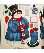 2 Vintage Daisy Kingdom Happy Holidays Snowman Fabric Door Panel Cotton ... - $19.99