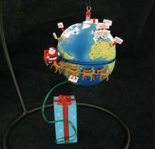 Vtg Santa Sleigh Around The World Christmas Ornament Light & Motion Enesco Earth - $24.70