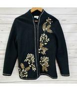 Coldwater Creek Black Full Zip Cardigan Sweater Size S Wool Blend Fall F... - $34.60