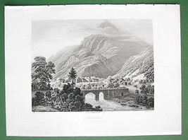 SWITZERLAND Swiss Alps View of Amsteg - 1860s Engraving Antique Print - $8.99
