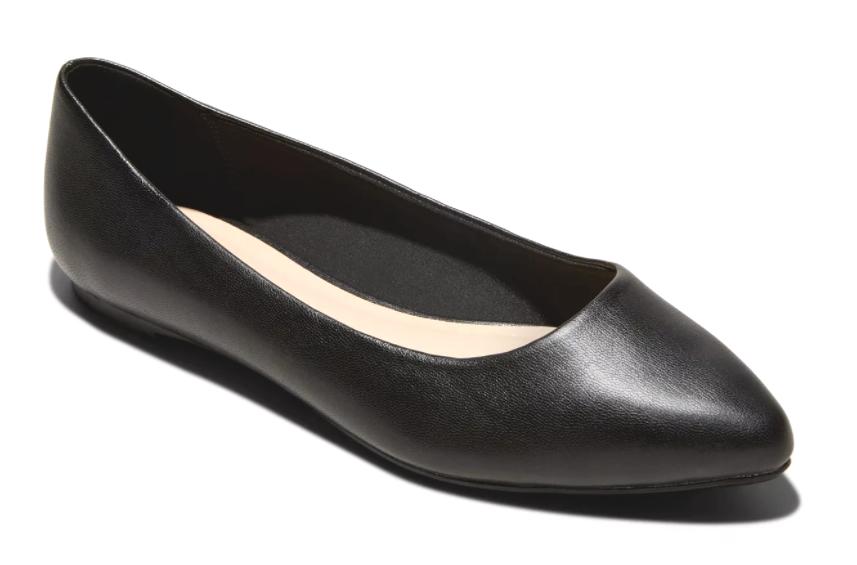 A New Day Women's Black Kora Faux Leather Memory Foam Pointed Toe Ballet Flats