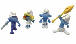 McDonalds Blue Smurfs Lot 4 Smurfette Handy Clumsy Panicky Figure 2011 M... - $12.86