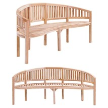 "vidaXL Solid Teak Garden Bench Banana-shaped 78.7"" Patio Chair Seat Furn... - $212.99"