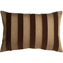 Pillow Decor - Brackendale Stripes Brown Rectangular Throw Pillow 16x24 - $49.95