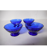 New Martinsville Addie 12 Point Cobalt Blue Small Footed Glasses - 4 Pieces - $16.00
