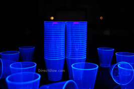 2oz 50 Count Neon Blue Blacklight Reactive Plastic Shot Glasses - $8.95