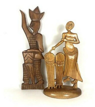 Vintage Carved Wood African Folk Statues Playing Drums. Free Standing Ar... - $25.55