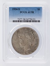 1934-S $1 Peace Dollar Graded by PCGS as AU-58 - $1,237.50