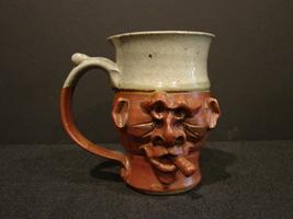 Ugly Face Cigar Smoking Mug Handmade Stoneware - $9.99